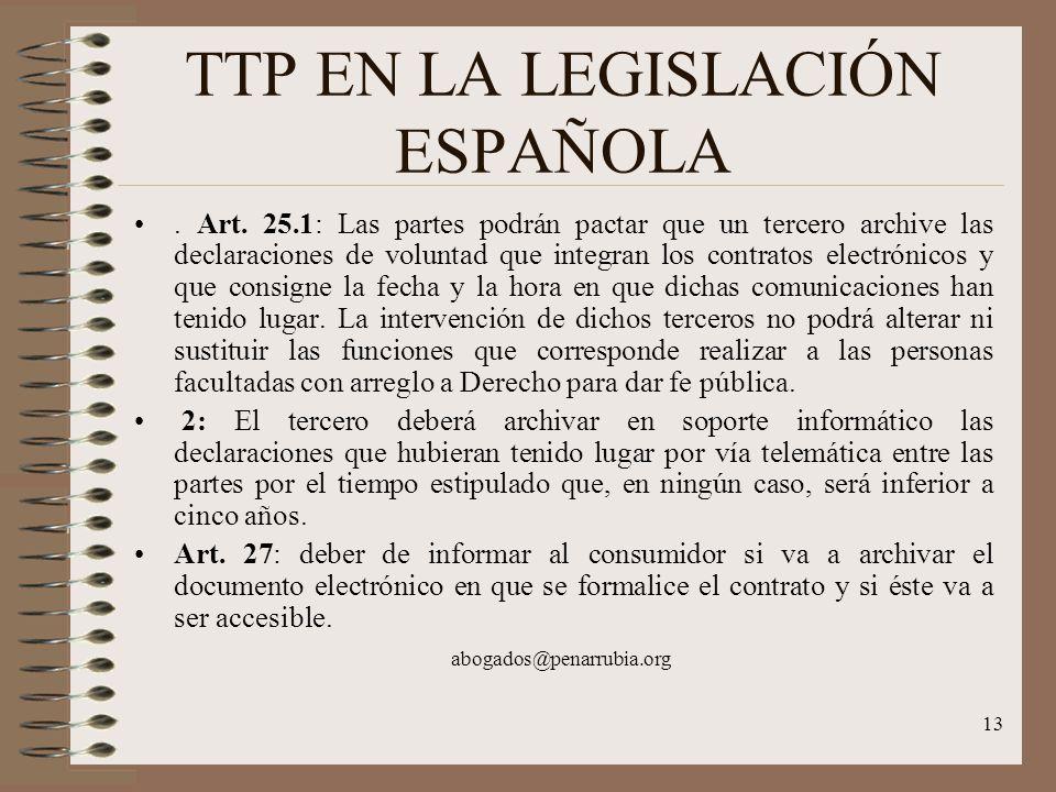 13 TTP EN LA LEGISLACIÓN ESPAÑOLA. Art.
