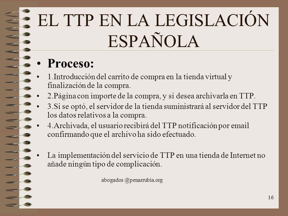 16 EL TTP EN LA LEGISLACIÓN ESPAÑOLA Proceso: 1.Introducción del carrito de compra en la tienda virtual y finalización de la compra.
