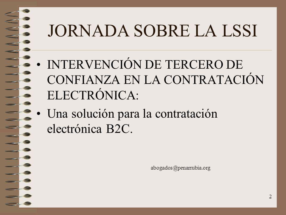 2 JORNADA SOBRE LA LSSI INTERVENCIÓN DE TERCERO DE CONFIANZA EN LA CONTRATACIÓN ELECTRÓNICA: Una solución para la contratación electrónica B2C.