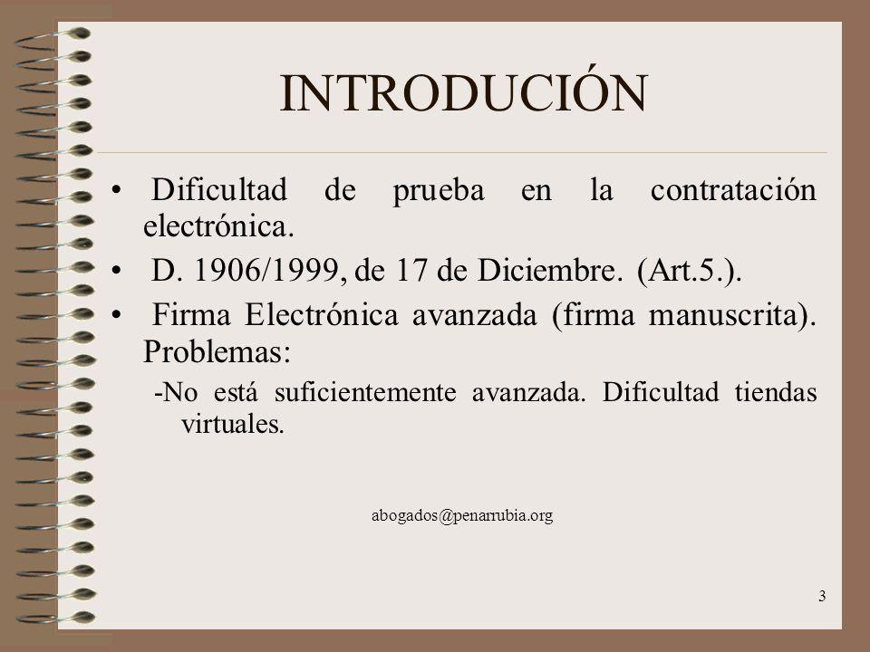 3 INTRODUCIÓN Dificultad de prueba en la contratación electrónica.