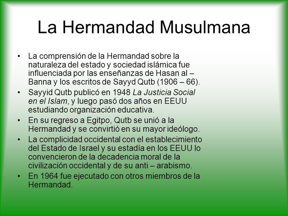 La Hermandad Musulmana La comprensión de la Hermandad sobre la naturaleza del estado y sociedad islámica fue influenciada por las enseñanzas de Hasan al – Banna y los escritos de Sayyd Qutb (1906 – 66).