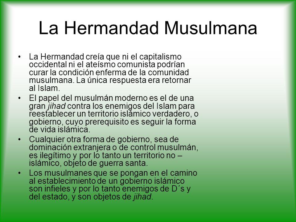 La Hermandad Musulmana La Hermandad creía que ni el capitalismo occidental ni el ateísmo comunista podrían curar la condición enferma de la comunidad musulmana.