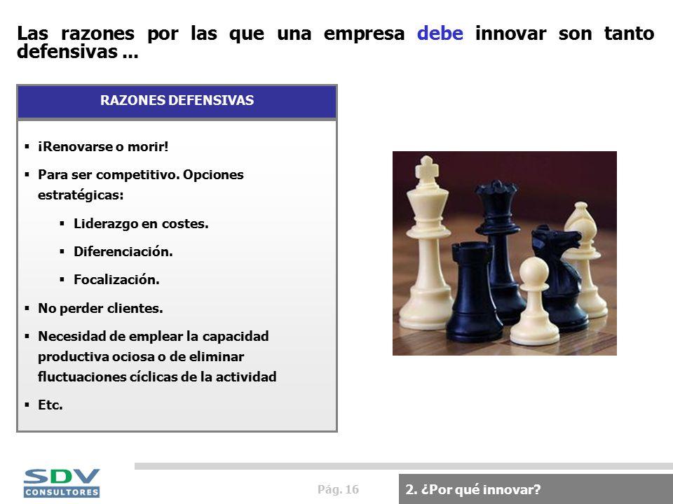 Pág. 16 Las razones por las que una empresa debe innovar son tanto defensivas...