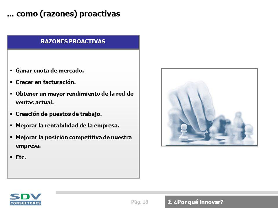 Pág. 18... como (razones) proactivas 2. ¿Por qué innovar.