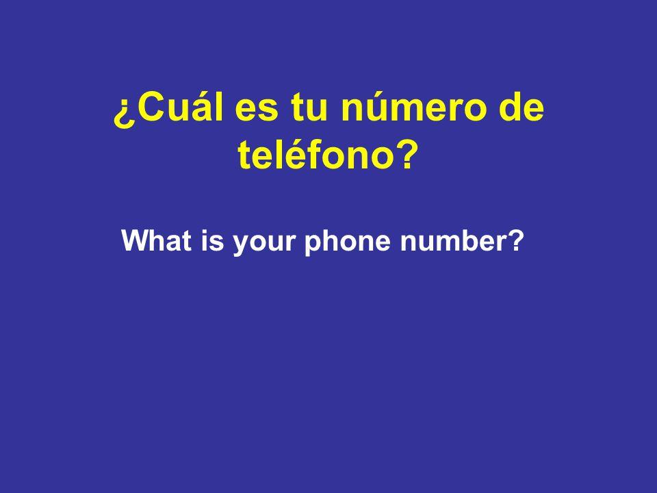 ¿Cuál es tu número de teléfono What is your phone number