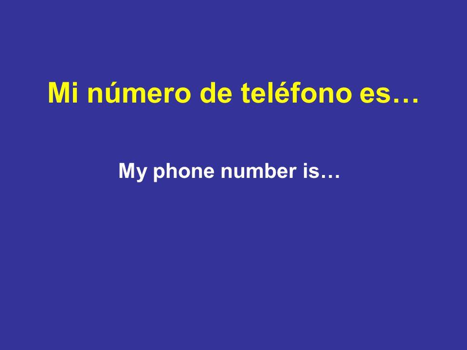 Mi número de teléfono es… My phone number is…