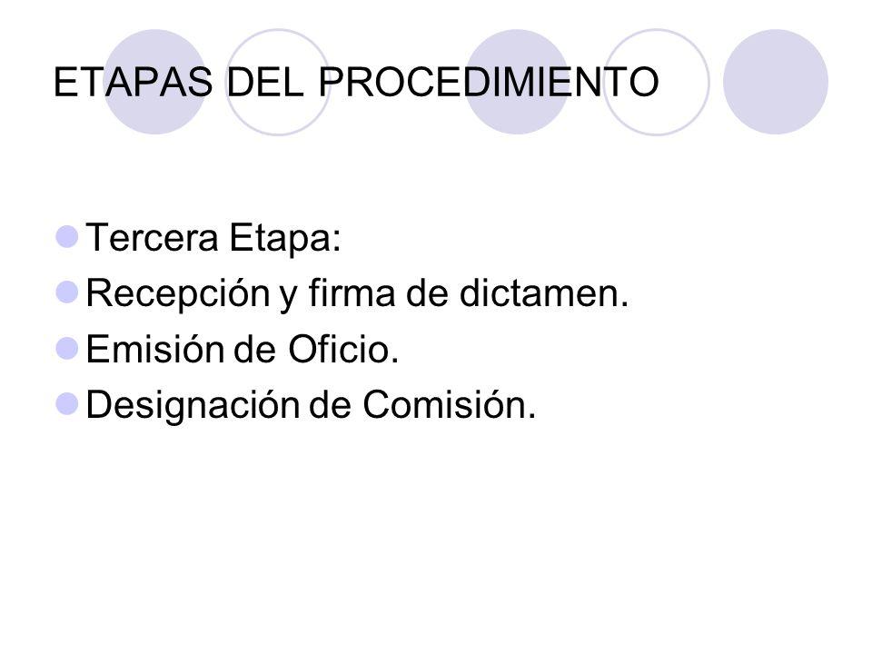 ETAPAS DEL PROCEDIMIENTO Tercera Etapa: Recepción y firma de dictamen.