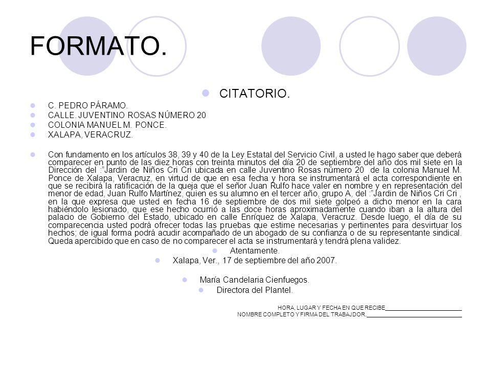 FORMATO. CITATORIO. C. PEDRO PÁRAMO. CALLE. JUVENTINO ROSAS NÚMERO 20 COLONIA MANUEL M.