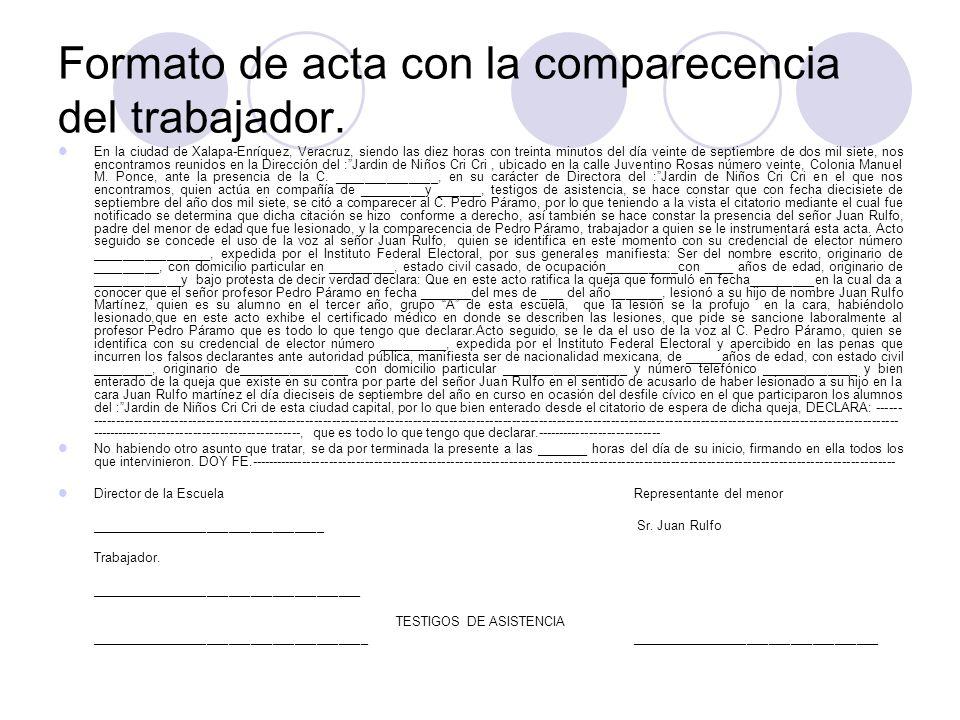 Formato de acta con la comparecencia del trabajador.