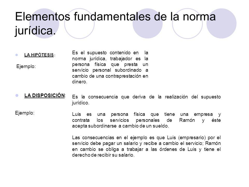 Elementos fundamentales de la norma jurídica.