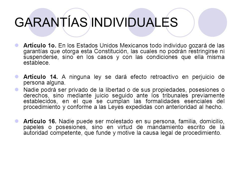 GARANTÍAS INDIVIDUALES Artículo 1o.