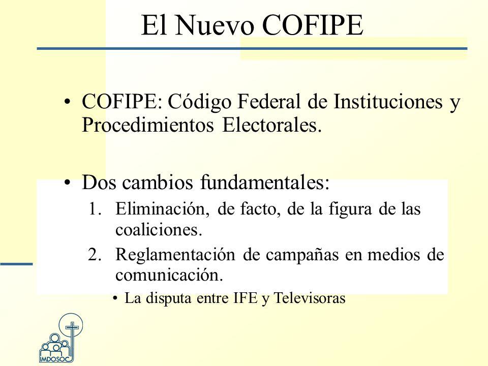 El Nuevo COFIPE COFIPE: Código Federal de Instituciones y Procedimientos Electorales.