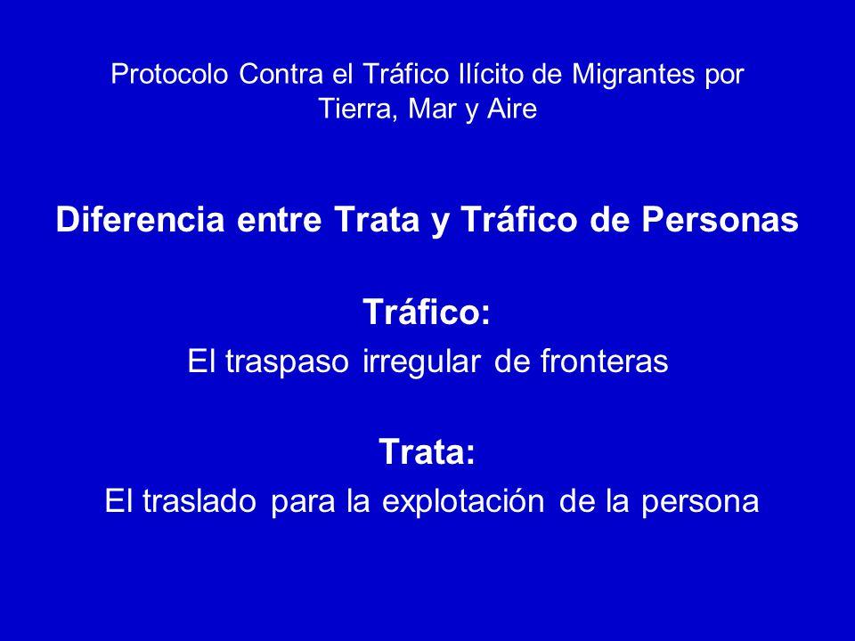 Protocolo Contra el Tráfico Ilícito de Migrantes por Tierra, Mar y Aire Define el Tráfico Por tráfico ilícito de migrantes se entenderá la facilitación de la entrada ilegal de una persona en un estado parte del cual dicha persona no sea nacional o residente permanente con el fin de obtener, directa o indirectamente, un beneficio financiero u otro beneficio de orden material