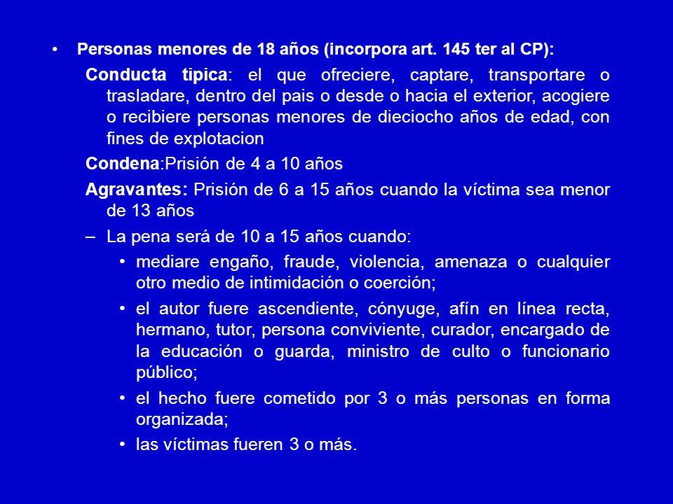 Disposiciones Penales Personas mayores de 18 años (incorpora art.