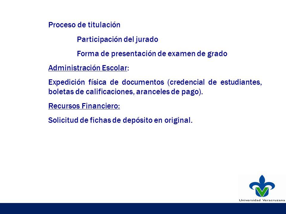 Proceso de titulación Participación del jurado Forma de presentación de examen de grado Administración Escolar: Expedición física de documentos (credencial de estudiantes, boletas de calificaciones, aranceles de pago).