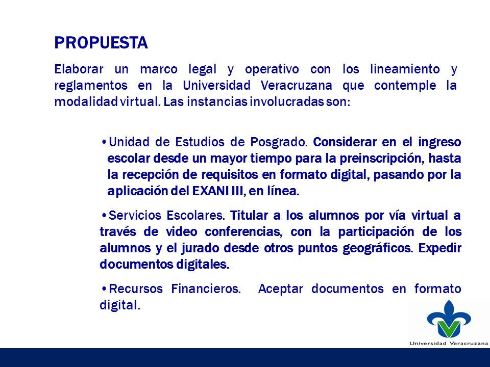 PROPUESTA Elaborar un marco legal y operativo con los lineamiento y reglamentos en la Universidad Veracruzana que contemple la modalidad virtual.