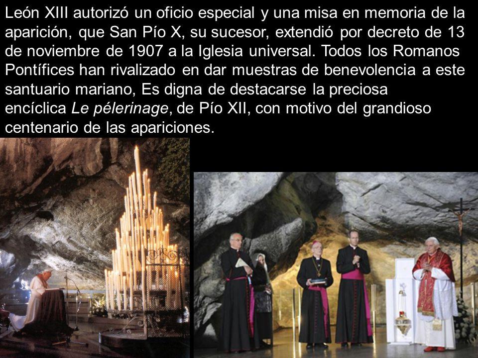León XIII autorizó un oficio especial y una misa en memoria de la aparición, que San Pío X, su sucesor, extendió por decreto de 13 de noviembre de 1907 a la Iglesia universal.