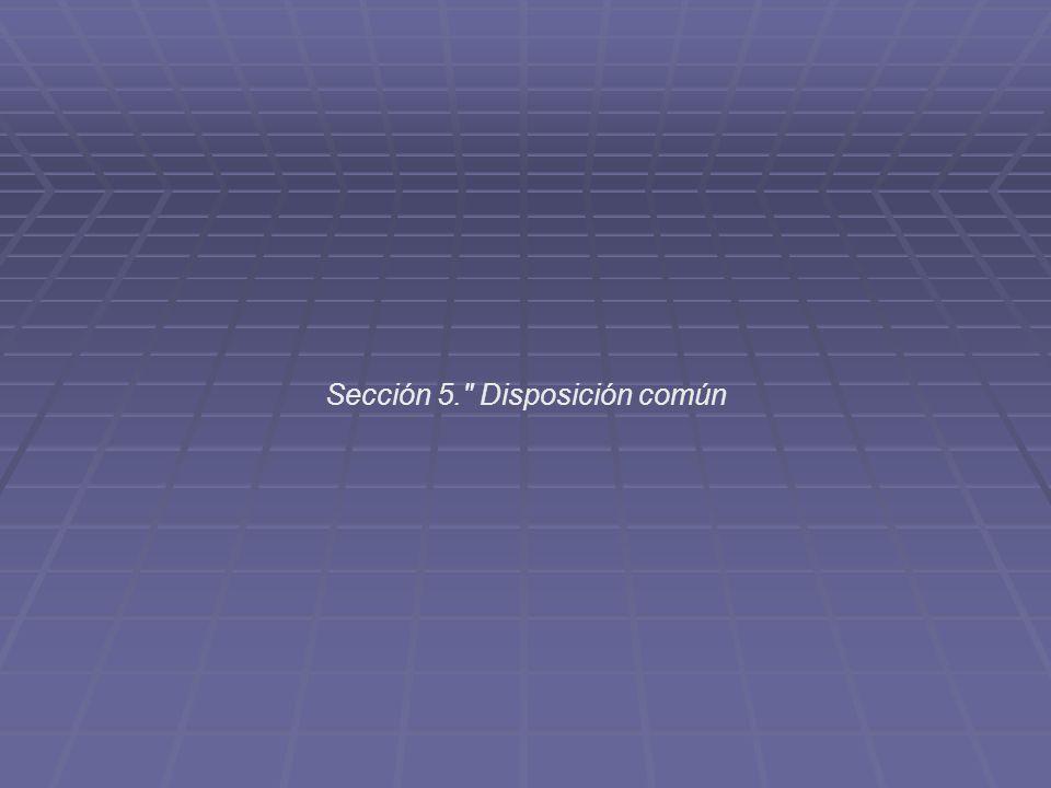 Sección 5. Disposición común