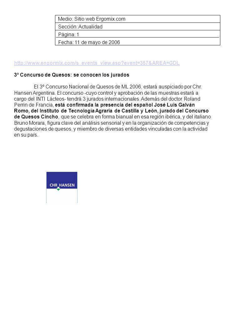 Medio: Sitio web Ergomix.com Sección: Actualidad Página: 1 Fecha: 11 de mayo de 2006 http://www.engormix.com/s_events_view.asp event=357&AREA=GDL 3º Concurso de Quesos: se conocen los jurados El 3º Concurso Nacional de Quesos de ML 2006, estará auspiciado por Chr.