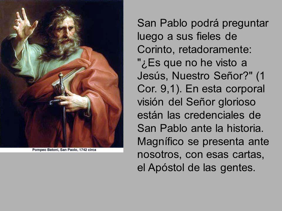 San Pablo podrá preguntar luego a sus fieles de Corinto, retadoramente: ¿Es que no he visto a Jesús, Nuestro Señor (1 Cor.