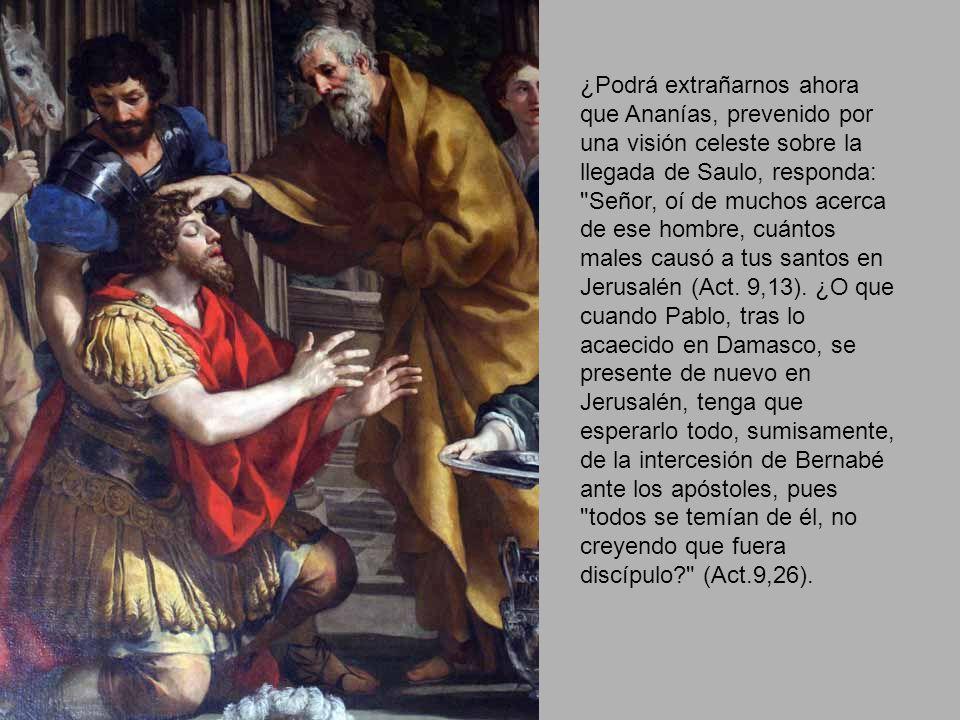 ¿Podrá extrañarnos ahora que Ananías, prevenido por una visión celeste sobre la llegada de Saulo, responda: Señor, oí de muchos acerca de ese hombre, cuántos males causó a tus santos en Jerusalén (Act.