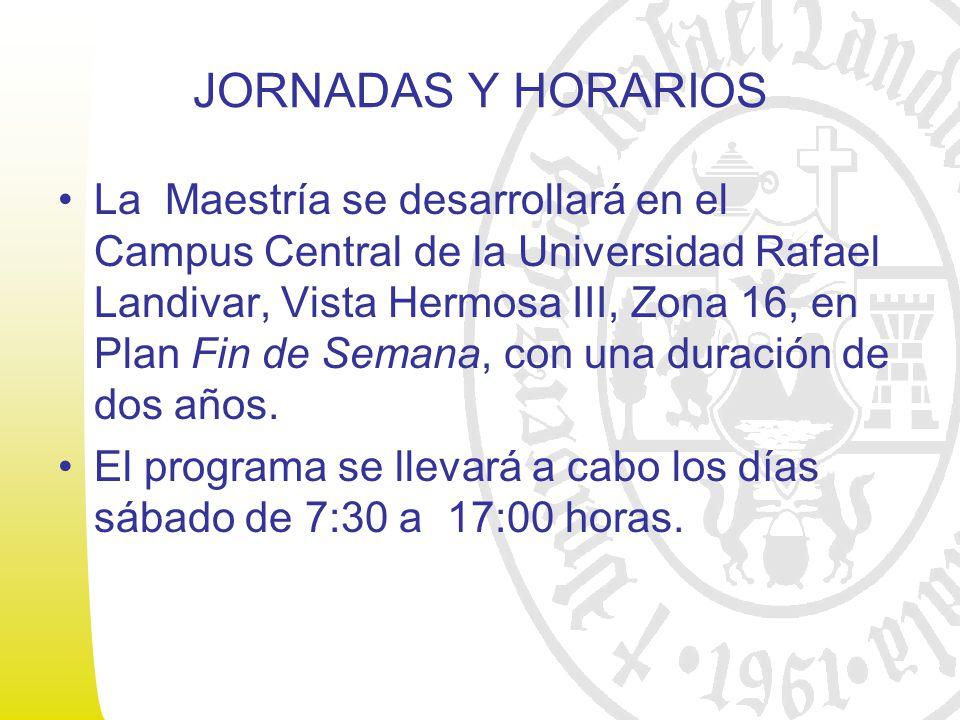 JORNADAS Y HORARIOS La Maestría se desarrollará en el Campus Central de la Universidad Rafael Landivar, Vista Hermosa III, Zona 16, en Plan Fin de Semana, con una duración de dos años.