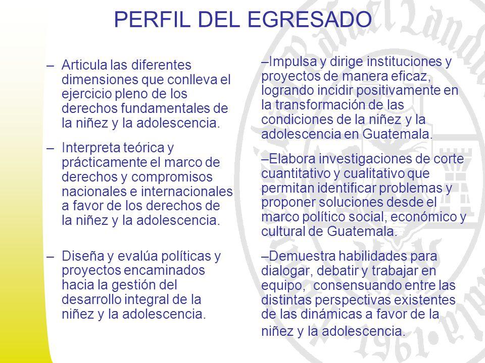 PERFIL DEL EGRESADO –Articula las diferentes dimensiones que conlleva el ejercicio pleno de los derechos fundamentales de la niñez y la adolescencia.