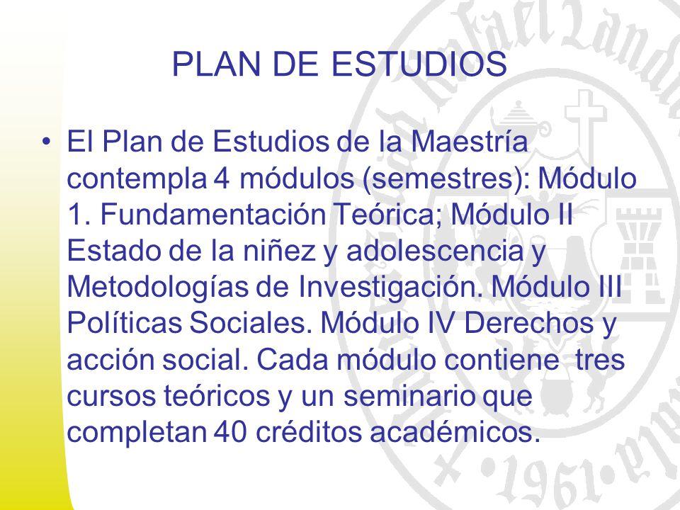 PLAN DE ESTUDIOS El Plan de Estudios de la Maestría contempla 4 módulos (semestres): Módulo 1.