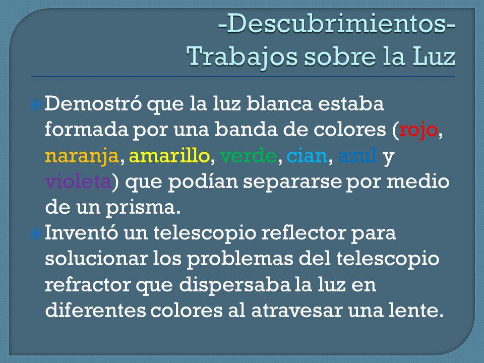  Demostró que la luz blanca estaba formada por una banda de colores (rojo, naranja, amarillo, verde, cian, azul y violeta) que podían separarse por medio de un prisma.