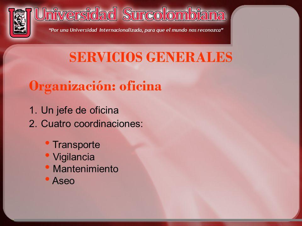 Por una Universidad Internacionalizada, para que el mundo nos reconozca SERVICIOS GENERALES 1.