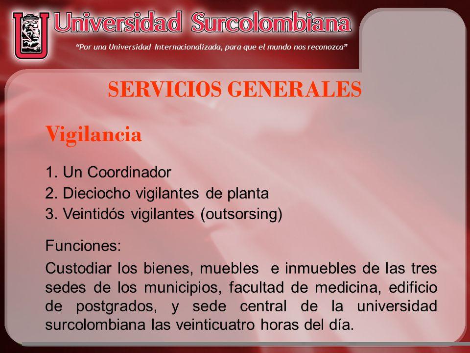 Por una Universidad Internacionalizada, para que el mundo nos reconozca SERVICIOS GENERALES Vigilancia 1.