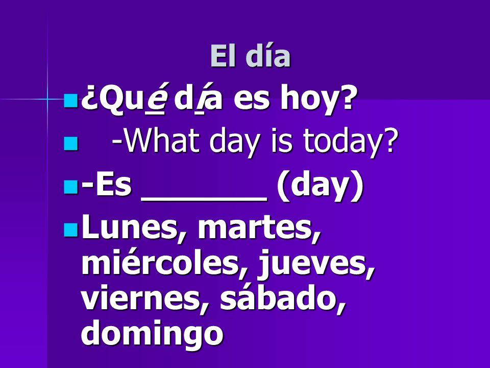 El día ¿Qué día es hoy. ¿Qué día es hoy. -What day is today.