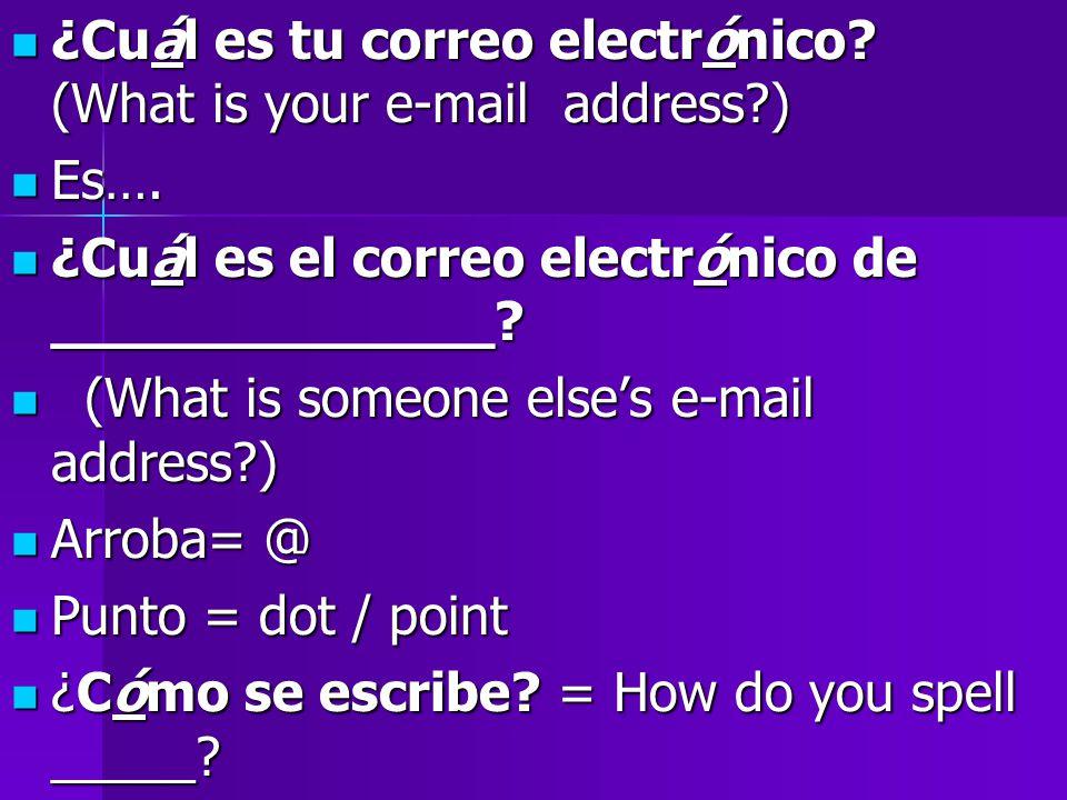 ¿Cuál es tu correo electrónico. (What is your e-mail address ) ¿Cuál es tu correo electrónico.