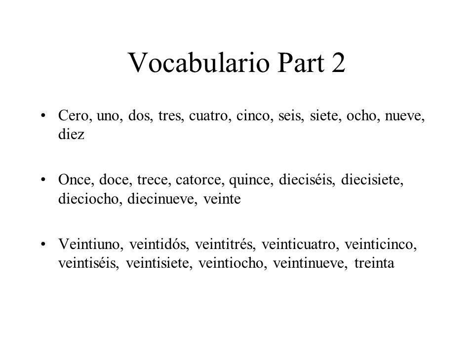 Vocabulario Part 2 Cero, uno, dos, tres, cuatro, cinco, seis, siete, ocho, nueve, diez Once, doce, trece, catorce, quince, dieciséis, diecisiete, dieciocho, diecinueve, veinte Veintiuno, veintidós, veintitrés, veinticuatro, veinticinco, veintiséis, veintisiete, veintiocho, veintinueve, treinta