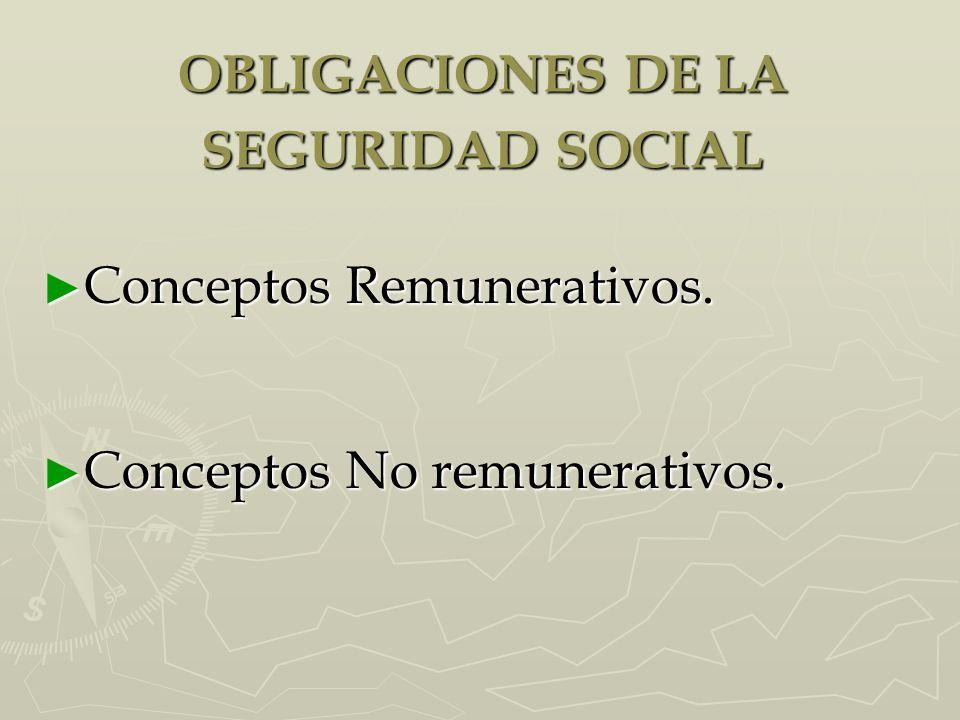 OBLIGACIONES DE LA SEGURIDAD SOCIAL ► Conceptos Remunerativos. ► Conceptos No remunerativos.