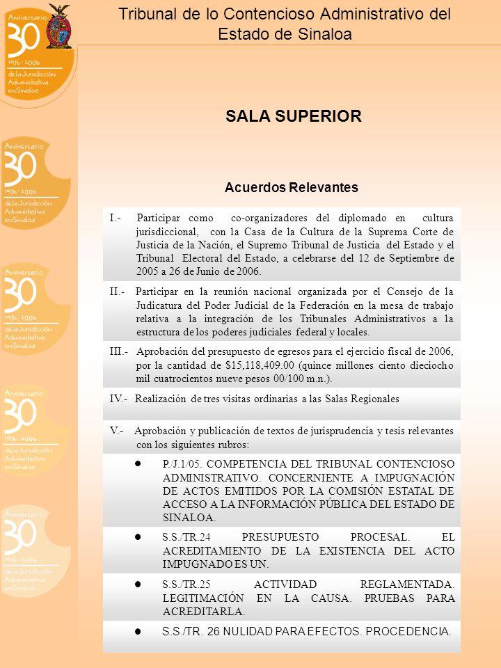 Tribunal de lo Contencioso Administrativo del Estado de Sinaloa SALA SUPERIOR I.- Participar como co-organizadores del diplomado en cultura jurisdiccional, con la Casa de la Cultura de la Suprema Corte de Justicia de la Nación, el Supremo Tribunal de Justicia del Estado y el Tribunal Electoral del Estado, a celebrarse del 12 de Septiembre de 2005 a 26 de Junio de 2006.