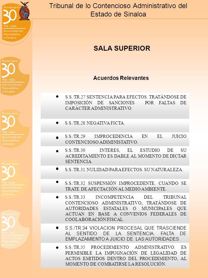 Tribunal de lo Contencioso Administrativo del Estado de Sinaloa S.S./TR.27 SENTENCIA PARA EFECTOS.