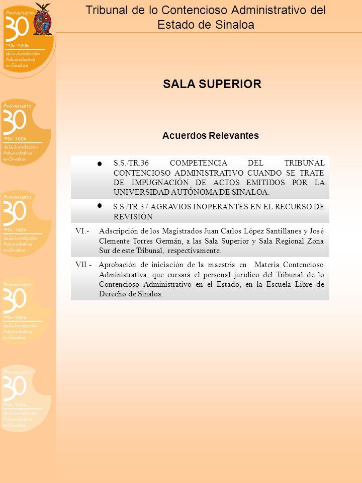 Tribunal de lo Contencioso Administrativo del Estado de Sinaloa SALA SUPERIOR S.S./TR.36 COMPETENCIA DEL TRIBUNAL CONTENCIOSO ADMINISTRATIVO CUANDO SE TRATE DE IMPUGNACIÓN DE ACTOS EMITIDOS POR LA UNIVERSIDAD AUTÓNOMA DE SINALOA.