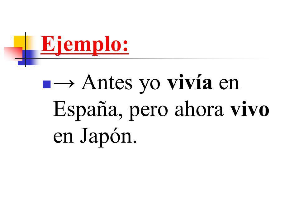 Ejemplo: → Antes yo vivía en España, pero ahora vivo en Japón.