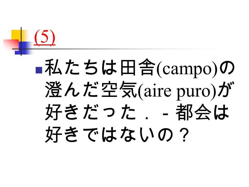 (5) 私たちは田舎 (campo) の 澄んだ空気 (aire puro) が 好きだった.-都会は 好きではないの?