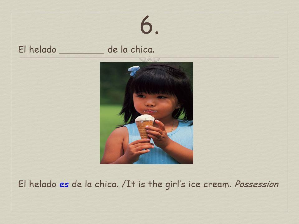 5. La blusa ________ de seda. La blusa es de seda. / The blouse is made of silk. Material