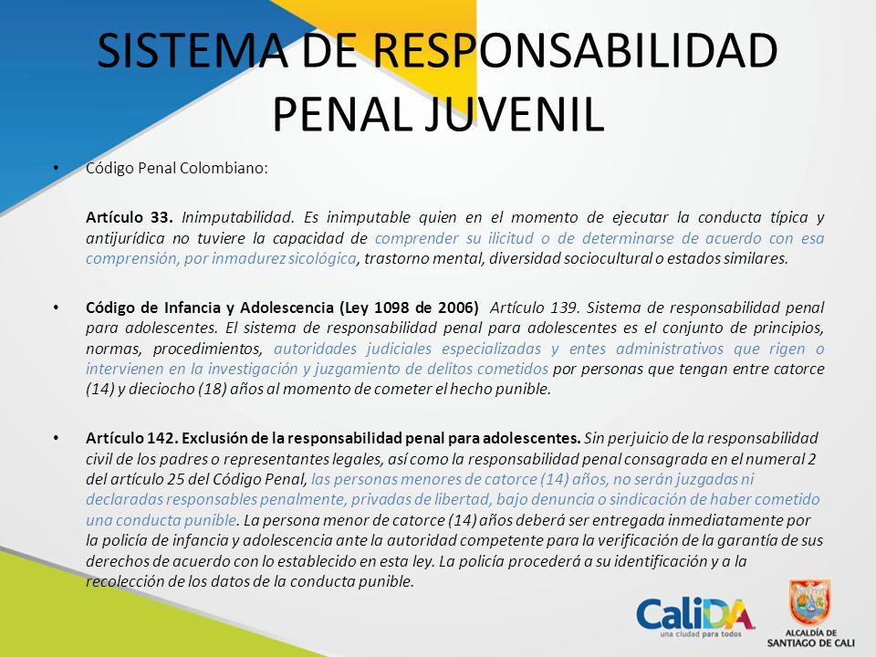 SISTEMA DE RESPONSABILIDAD PENAL JUVENIL Código Penal Colombiano: Artículo 33.