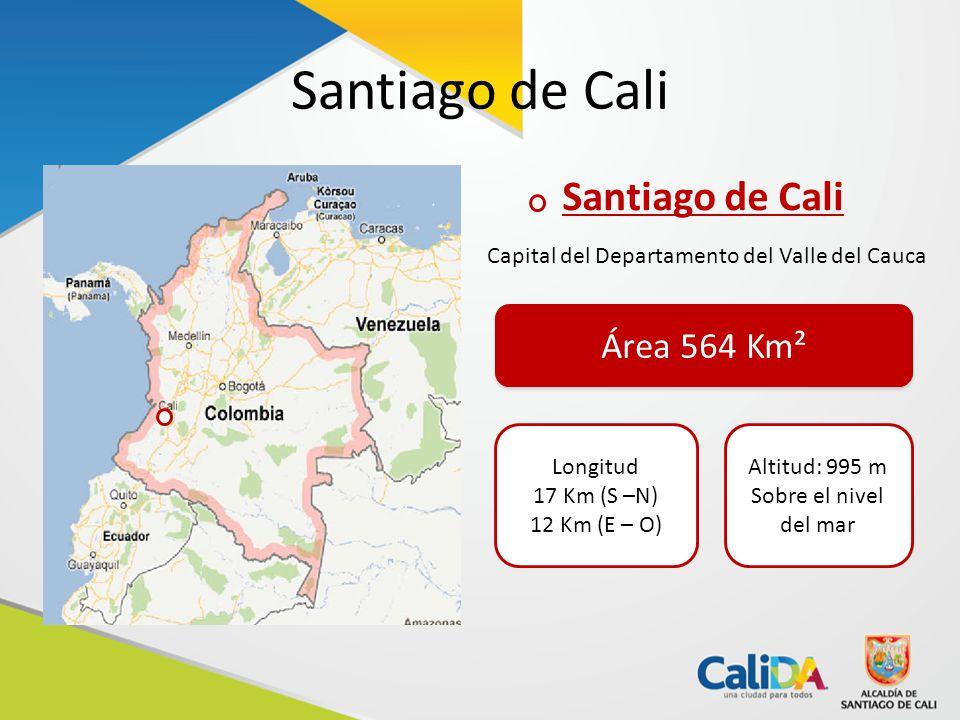 Santiago de Cali Capital del Departamento del Valle del Cauca Área 564 Km² Longitud 17 Km (S –N) 12 Km (E – O) Altitud: 995 m Sobre el nivel del mar
