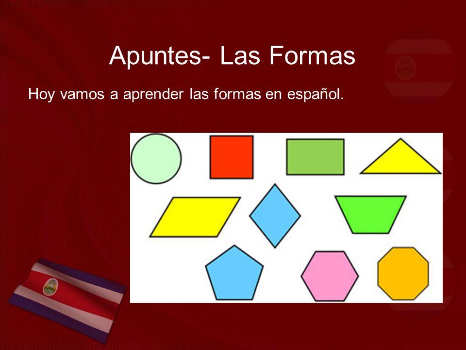 Apuntes- Las Formas Hoy vamos a aprender las formas en español.
