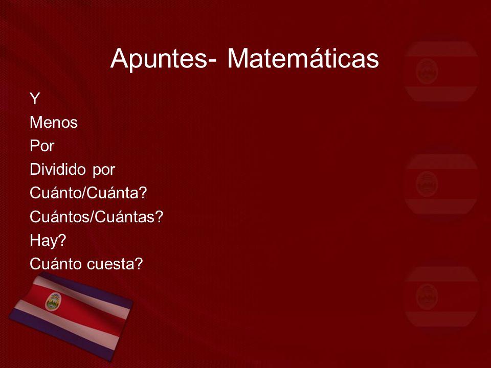 Apuntes- Matemáticas Y Menos Por Dividido por Cuánto/Cuánta Cuántos/Cuántas Hay Cuánto cuesta