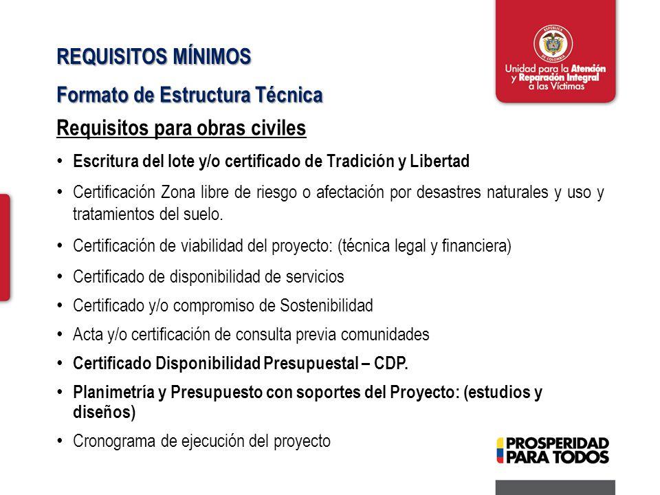 REQUISITOS MÍNIMOS Formato de Estructura Técnica Requisitos para obras civiles Escritura del lote y/o certificado de Tradición y Libertad Certificación Zona libre de riesgo o afectación por desastres naturales y uso y tratamientos del suelo.