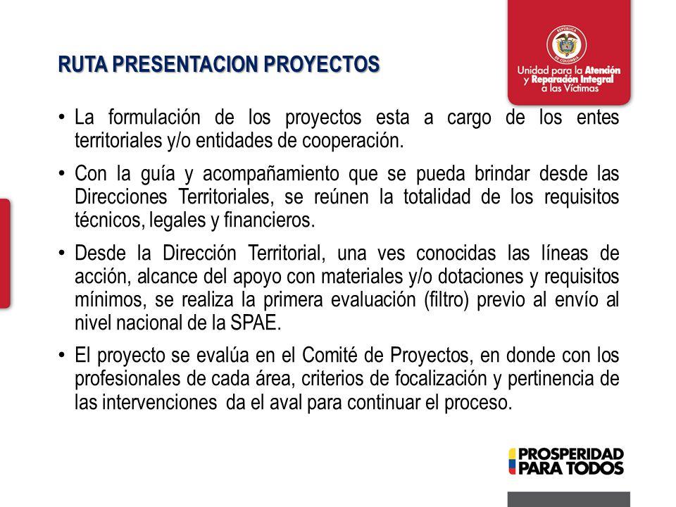 RUTA PRESENTACION PROYECTOS La formulación de los proyectos esta a cargo de los entes territoriales y/o entidades de cooperación.