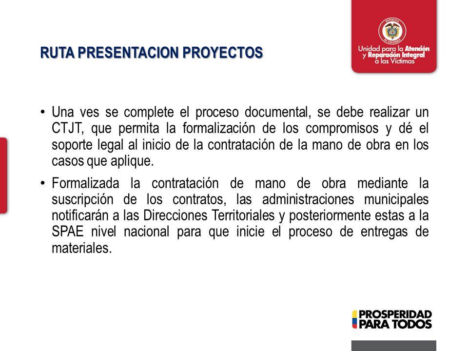 RUTA PRESENTACION PROYECTOS Una ves se complete el proceso documental, se debe realizar un CTJT, que permita la formalización de los compromisos y dé el soporte legal al inicio de la contratación de la mano de obra en los casos que aplique.