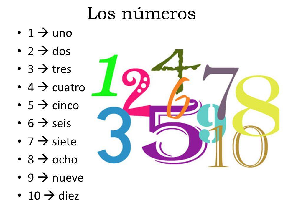 Los números 1  uno 2  dos 3  tres 4  cuatro 5  cinco 6  seis 7  siete 8  ocho 9  nueve 10  diez