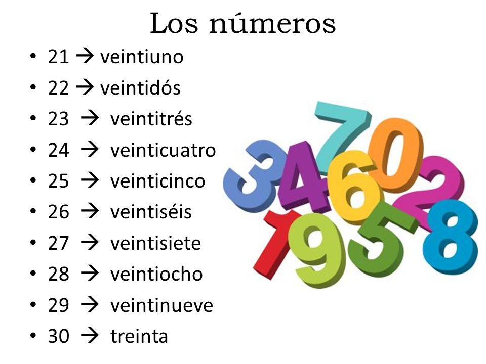 Los números 21  veintiuno 22  veintidós 23  veintitrés 24  veinticuatro 25  veinticinco 26  veintiséis 27  veintisiete 28  veintiocho 29  veintinueve 30  treinta